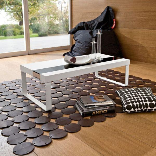Osvald tavolino design legno laminato vetro e metallo 110 x 55 cm