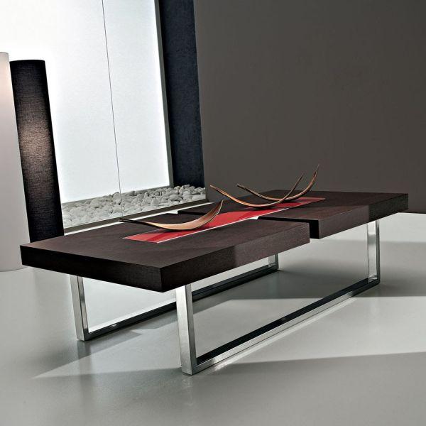 Tavolo basso da soggiorno in legno ciliegio o rovere moro Kaleb