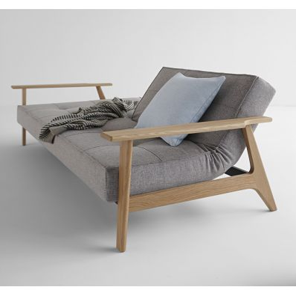 Divano letto SplitBack Frej con braccioli in legno e materasso a molle 234 cm