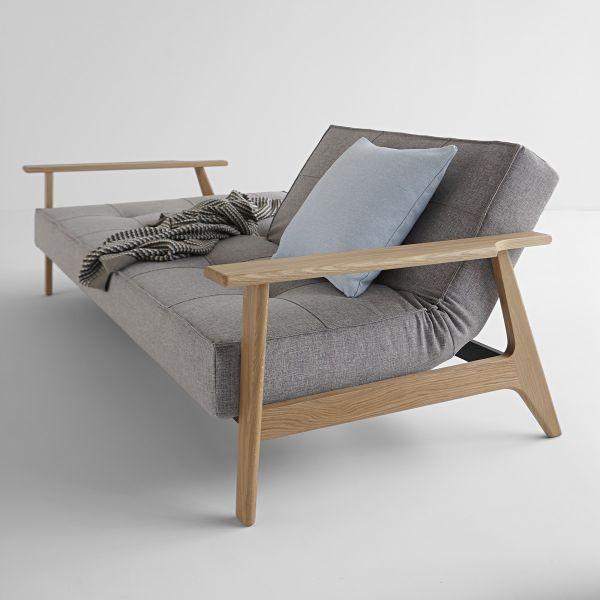 Divano letto con braccioli in legno e materasso a molle SplitBack Frej - 521 Mixed Dance Grey