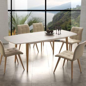 Tavolo allungabile Fredric in legno per cucina soggiorno bianco