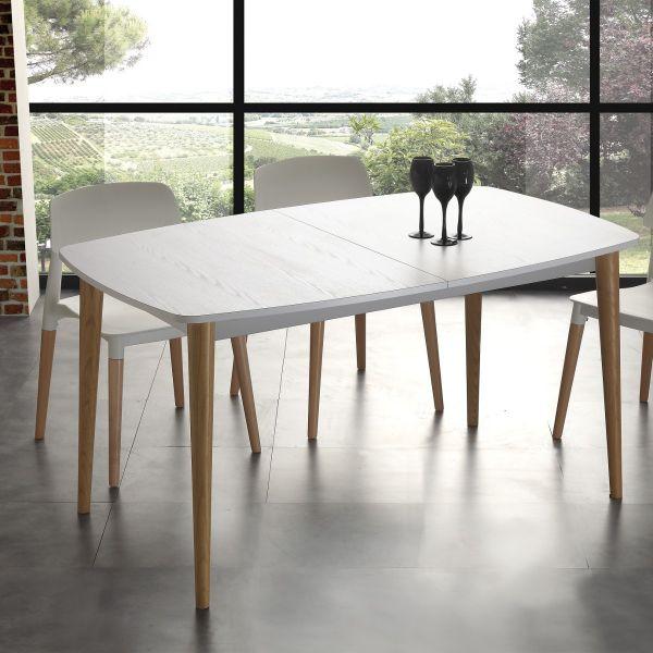 Dettagli su Tavolo allungabile legno FREDRIC design scandinavo per CUCINA  soggiorno bianco
