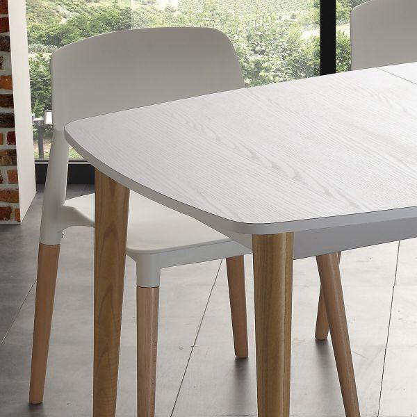 Tavolo allungabile legno fredric design scandinavo per cucina soggiorno bianco ebay - Tavolo scandinavo ...