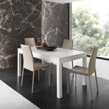 Tavolo soggiorno allungabile Sigvard in legno bianco poro aperto 160 x 90 cm
