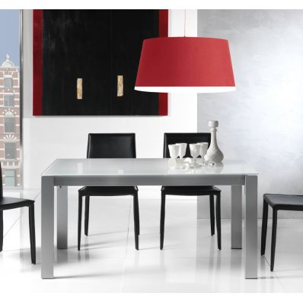 Tavolo allungabile in metallo legno e vetro 140 x 85 cm Kallum