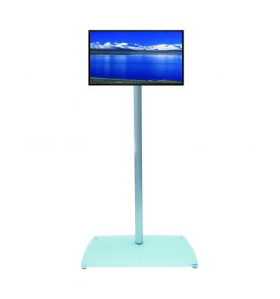 Colonna porta TV totem in alluminio con passacavi T10
