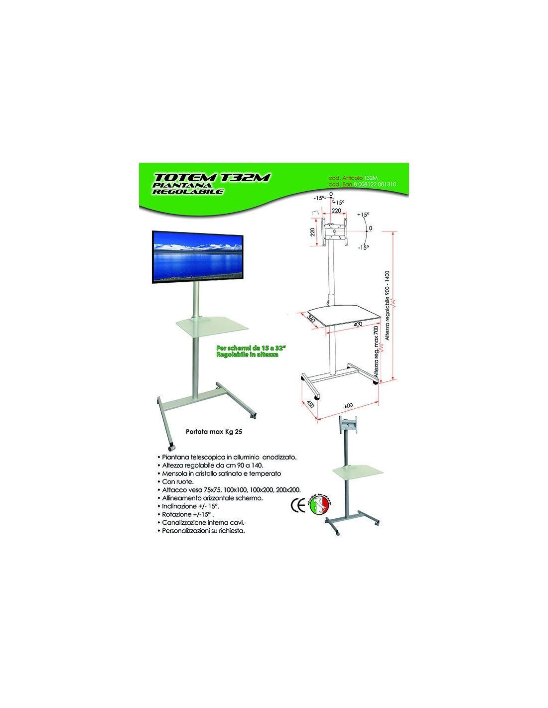 Mensole A Parete Regolabili In Altezza.Piantana Porta Tv In Alluminio Regolabile In Altezza Totem T32