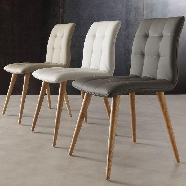 sedia da cucina in legno naturale ed ecopelle