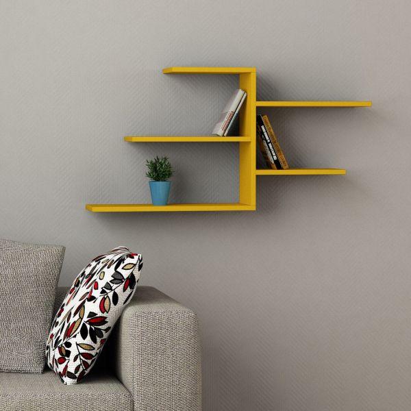 Contrail libreria sospesa da parete con mensole in legno 107 x 54 cm