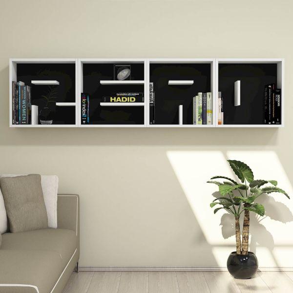Set 4 cubi libreria a parete componibili 50 x 50 cm Read
