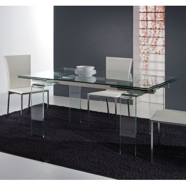 Tavolo allungabile in vetro trasparente e acciaio Evident