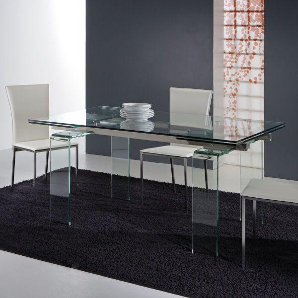 Tavolo allungabile in vetro trasparente Evident