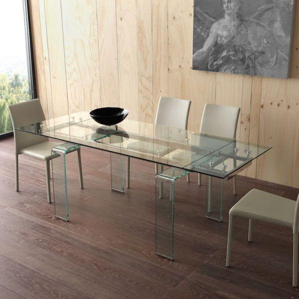 Tavolo allungabile in vetro trasparente e metallo Evident Mini