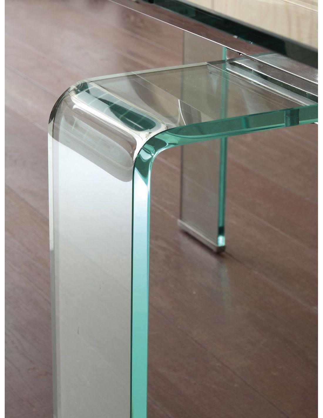 Tavolo allungabile evident mini in vetro trasparente e metallo for Tavolo allungabile vetro trasparente