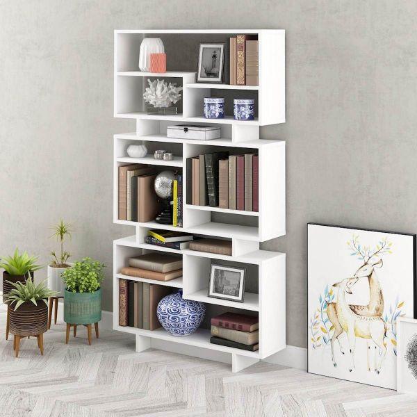 Lizzy libreria bianca da soggiorno design moderno 90 x 160 cm