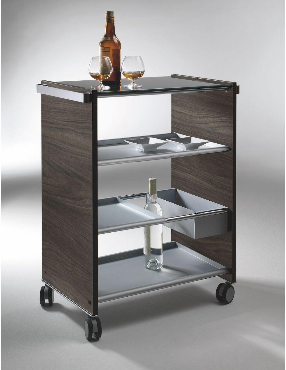 Service carrello di servizio multifunzione per cucina in legno e acciaio - Carrello cucina acciaio ...