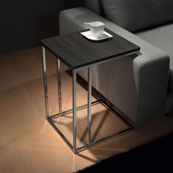Tavolino da salotto lato divano in acciaio e laminato Lamina