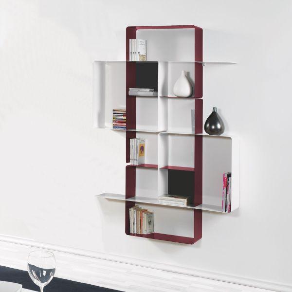 Libreria a parete in acciaio design moderno 120 x 180 cm Mondrian-4