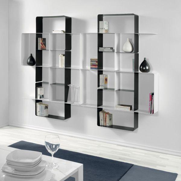 Scaffale libreria da parete in acciaio 230 x 180 cm Mondrian-7