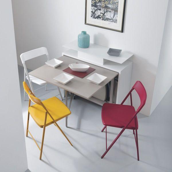 6 sedie pieghevoli salvaspazio in acciaio e plastica multicolor Zeta