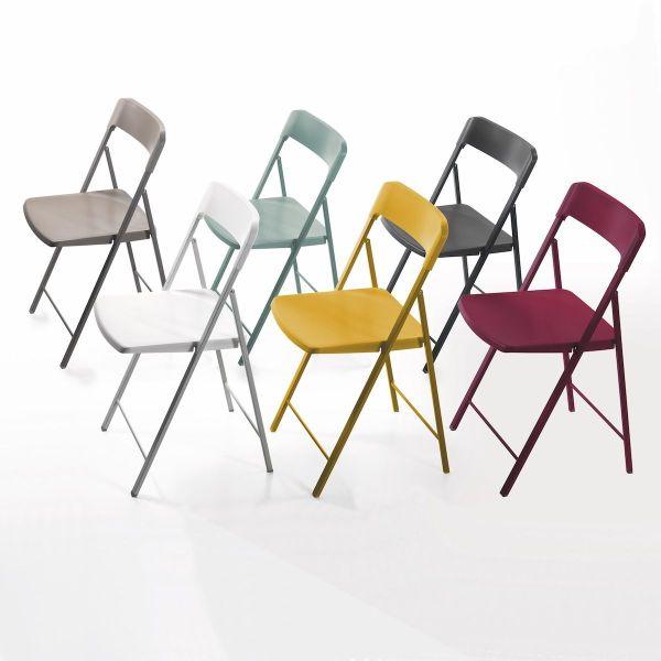 6 sedie pieghevoli Zeta in acciaio e plastica multicolor