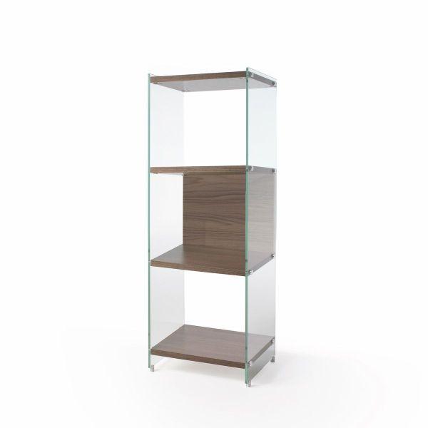 Libreria a colonna design moderno in vetro e legno Biblos202