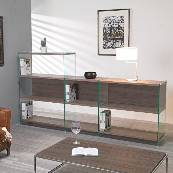 Libreria design divisoria in laminato e vetro 240 x 120 cm Byblos10