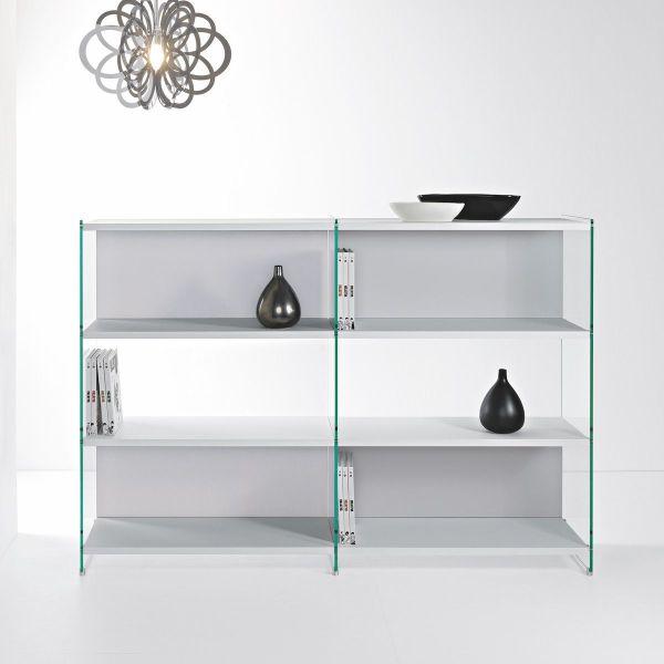 Libreria divisoria in legno laminato e vetro 180 x 125 cm Byblos11