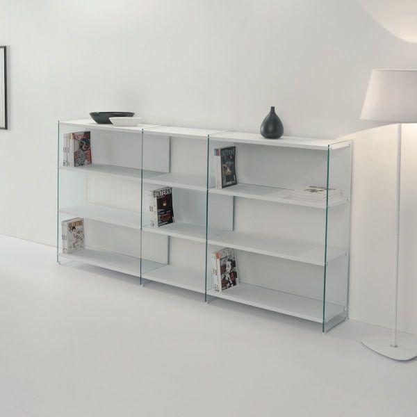 Libreria design separa ambienti in legno e vetro 240 x 125 cm Byblos12