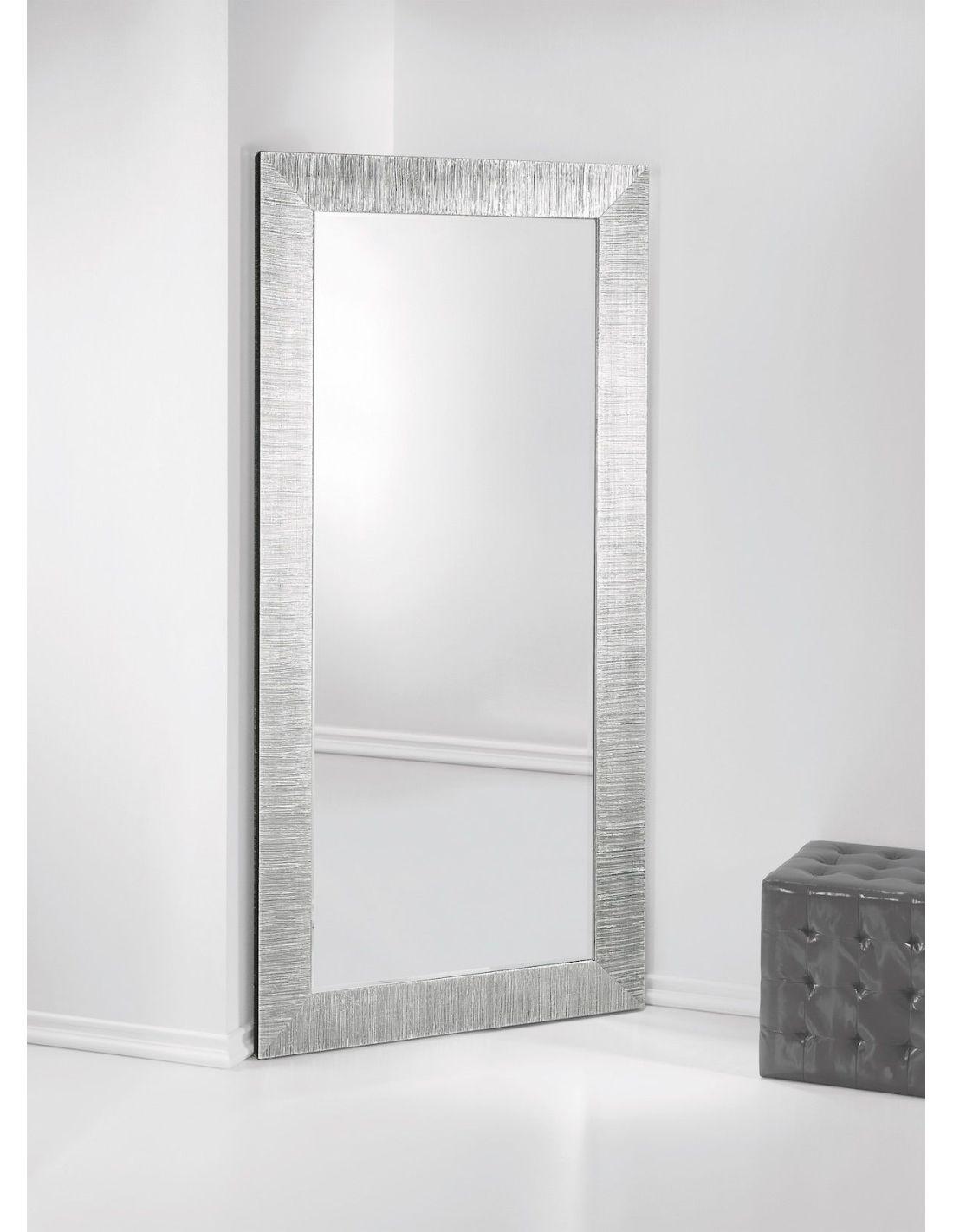 Specchio angolare Angolo Diva cornice in legno foglia Argento cm.97x192h