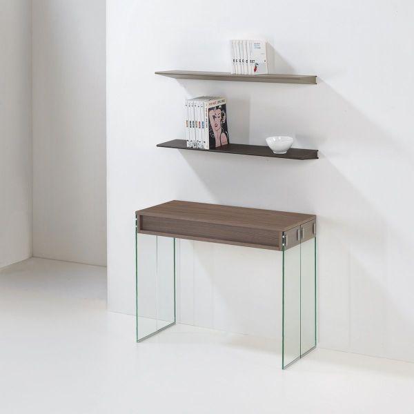 Consolle tavolo da pranzo City in vetro e laminato 45 x 90 x 75h cm