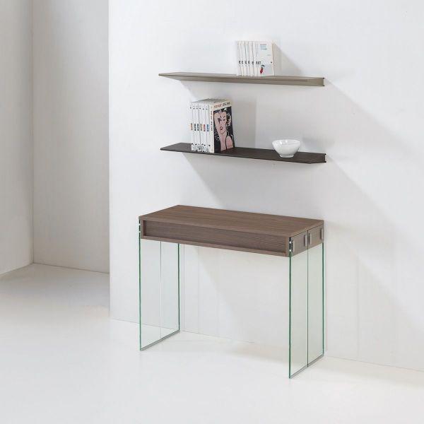 Consolle design tavolo da pranzo city allungabile vetro e - Tavolo consolle vetro allungabile ...