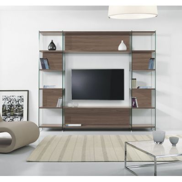 Libreria porta TV da salotto in laminato e vetro 220 x 200 cm Byblos3