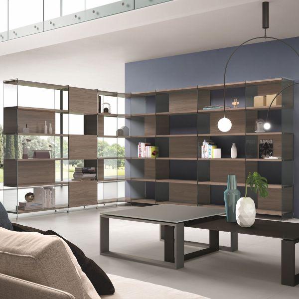 Libreria angolare design moderno in vetro e legno Byblos9