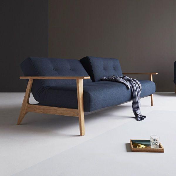 Ample Frej divano letto uso quotidiano con braccioli in legno - 528 Mixed Dance Blue