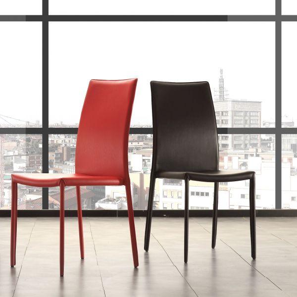 Sedia design moderno in similcuoio e metallo Zalia
