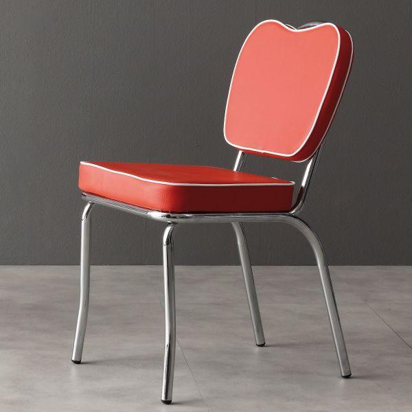Sedia impilabile in metallo cromato ed ecopelle rossa Treza