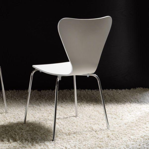 Sedia impilabile in legno bianco e metallo cromato Ninke