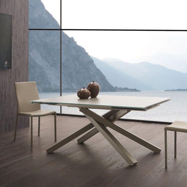 Tavolo allungabile piano in vetro color tortora 160 x 106 cm Torsten