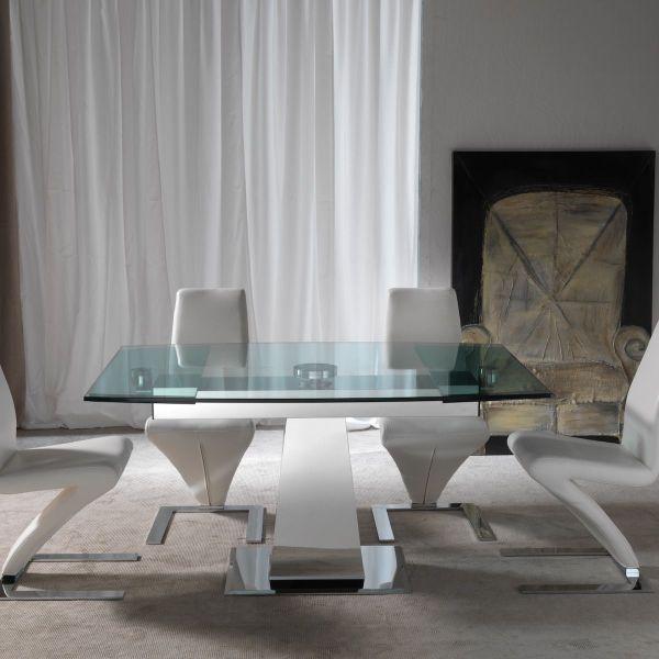 Tavolo allungabile in acciaio inox e vetro Sabino