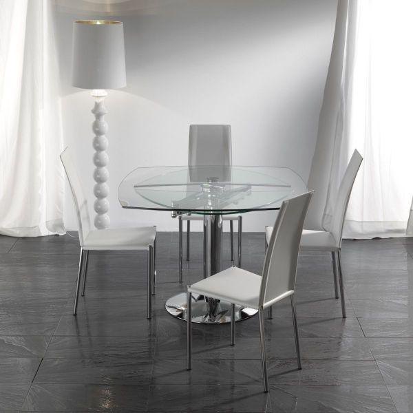 Tavolo allungabile moderno struttura cromata e piano in vetro Bernat