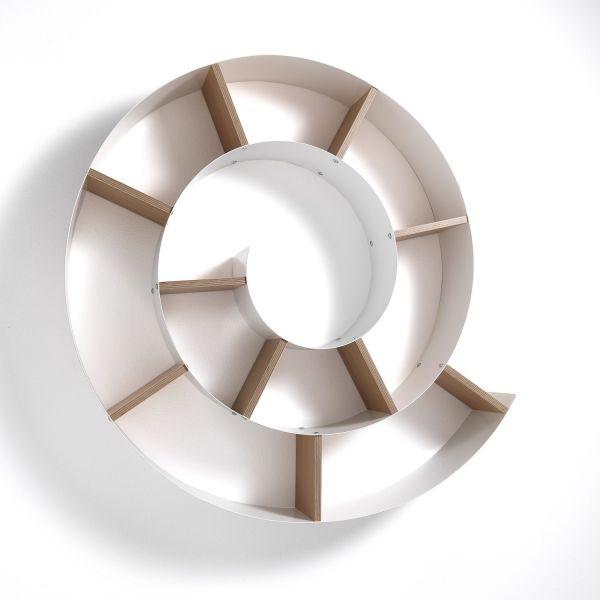 Mensola da parete a forma di chiocciola in metallo e legno Duglas