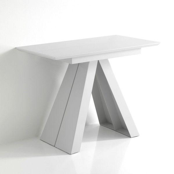 Tavolo consolle allungabile in MDF laccato bianco lucido Joad