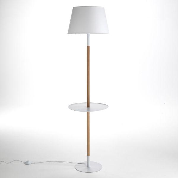 Lampada da terra in legno con mensola in metallo