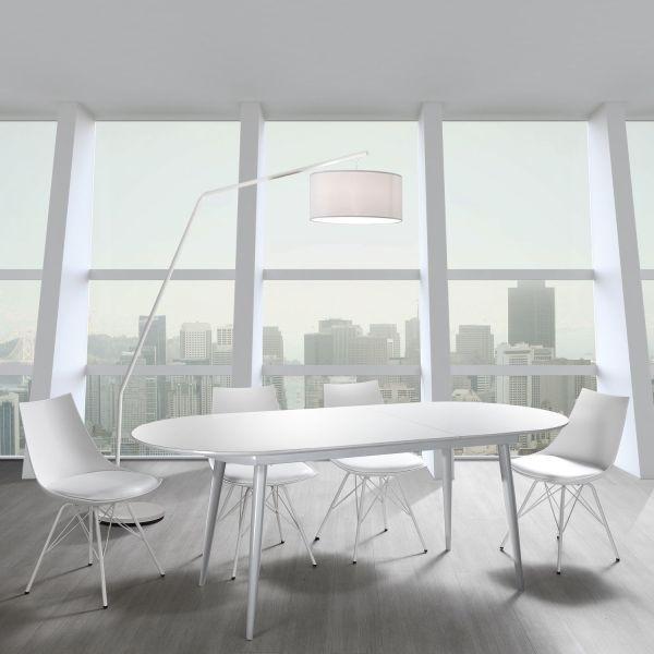 Tavolo allungabile in metallo e MDF bianco lucido Allister