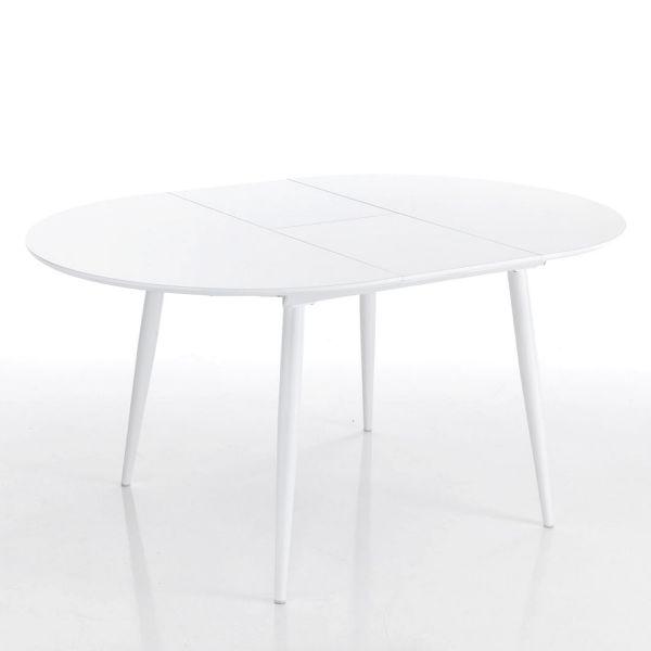 Dettagli su Tavolo design allungabile ALLISTER R rotondo in metallo e MDF  bianco lucido
