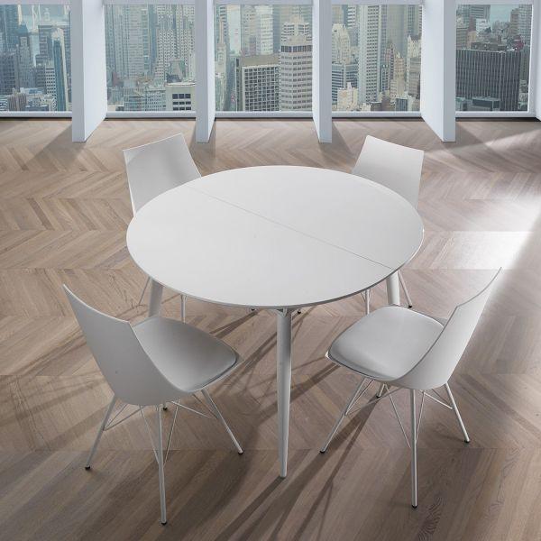 Tavolo allungabile Allister R rotondo bianco lucido