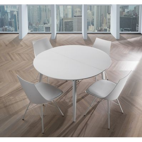 Tavolo allungabile rotondo in metallo e MDF bianco lucido Allister R