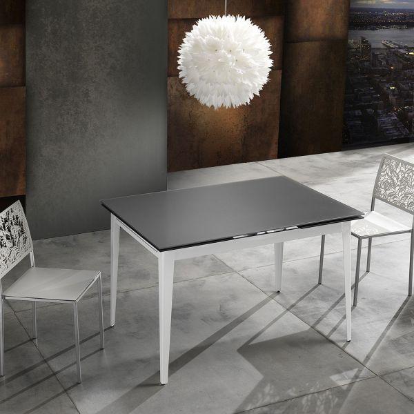 Tavolo allungabile in metallo e vetro 120x80 cm Karriet