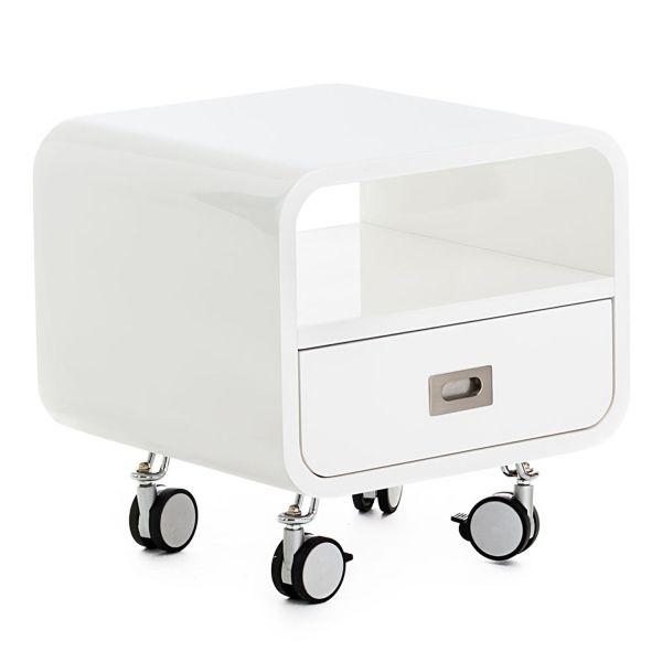 Comodino con ruote in MDF bianco lucido design moderno Bennie